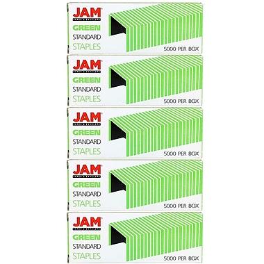 JAM PaperMD – Agrafes de taille standard, vert, paquet de 5