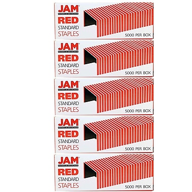 JAM Paper® Standard Size Colourful Staples, Red, 5/Pack (335reg)