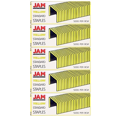 JAM Paper® Standard Size Colourful Staples, Yellow, 5/Pack (335yeg)