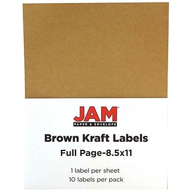 JAM Paper® Full Page Labels, 8.5 x 11 Sticker Paper, Brown Kraft, 2 packs of 10 (337628602g)