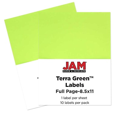JAM Paper® Full Page Labels, 8.5 x 11 Sticker Paper, AstroBrights® Terra Lime Green, 2 packs of 10 (337628608g)