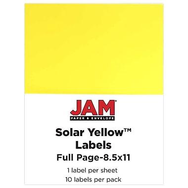 Jam PaperMD – Étiquettes autocollantes pleine page Astrobright, 8 1/2 x 11 po, jaune soleil, 10/paquet