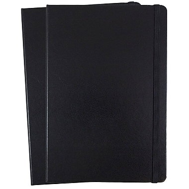 JAM Paper® Hardcover Lined Notebook with Elastic Closure, Large, 5.88 x 8.5 Journal, Black, 2/Pack (340526600g)