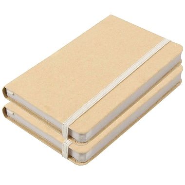 JAM Paper® Hardcover Lined Notebook With Elastic Closure, Small, 3.75 x 5.63 Journal, Kraft, 2/Pack (340526603g)