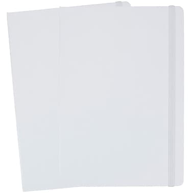 JAM Paper® Hardcover Lined Notebook with Elastic Closure, Large, 5.88 x 8.5 Journal, White, 2/Pack (340526604g)