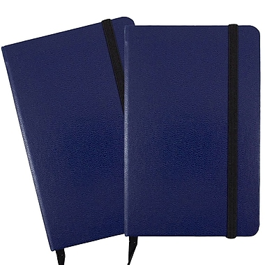 JAM Paper® Hardcover Lined Notebook With Elastic Closure, Small, 3.75 x 5.63 Journal, Blue, 2/Pack (340526609g)