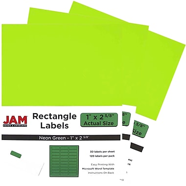 JAM Paper® Mailing Address Labels, 1 x 2 5/8, Neon Green, 3 packs of 120 (354328004g)