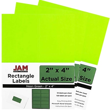 JAM PaperMD – Étiquettes postales, 2 x 4 po, rouge néon, 10/page, 360/paquet