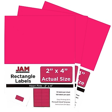 JAM Paper® Mailing Address Labels, 2 x 4, Neon Pink, 3 packs of 120 (354328023g)