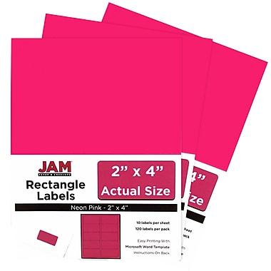 JAM PaperMD – Étiquettes postales de couleur néon fluorescent, 2 x 4 po, rose néon, 360/paquet