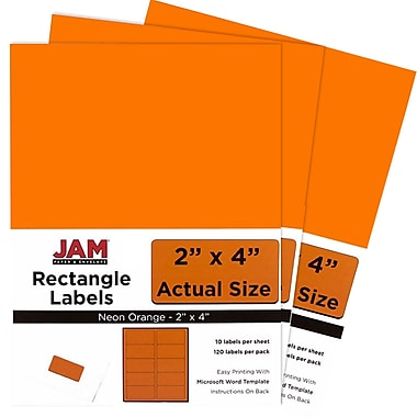 JAM Paper® Mailing Address Labels, 2 x 4, Neon Orange, 3 packs of 120 (354328026g)