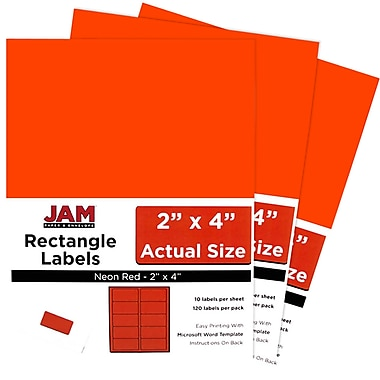 JAM Paper® Mailing Address Labels, 2 x 4, Neon Red, 3 packs of 120 (354328034g)