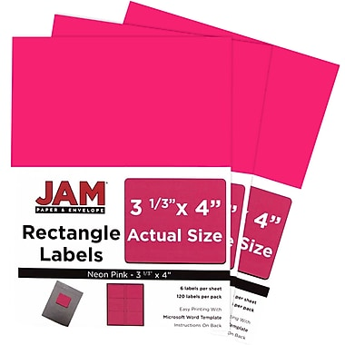 JAM Paper® Mailing Address Labels, 3 1/3 x 4, Neon Pink, 3 packs of 120 (354328046g)