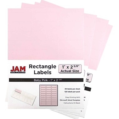 JAM Paper® Mailing Address Labels, 1 x 2 5/8, Baby Pink, 4 packs of 120 (4052895g)