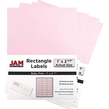 JAM PaperMD – Étiquettes postales, 2 5/8 x 1 po, rose bébé, 30 par page, 480 par paquet