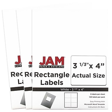 JAM Paper® Mailing Address Labels, 3 1/3 x 4, White, 3 packs of 120 (4062902g)