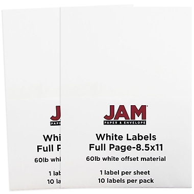 JAM Paper® Full Page Labels, 8.5 x 11 Sticker Paper, White, 30/Pack (4066683g)