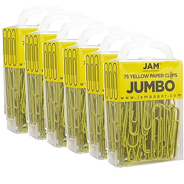 JAM Paper® Coloured Jumbo Paper Clips, Large, Yellow Paperclips, 40/Pack (42182236g)