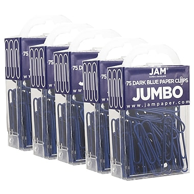 JAM Paper® Coloured Jumbo Paper Clips, Large, Dark Blue Paperclips, 375/Pack (42186869g)