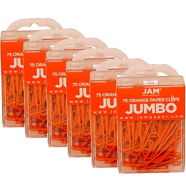 JAM Paper® Coloured Jumbo Paper Clips, Large, Orange Paperclips, 450/Pack (42186871g)