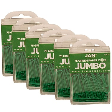 JAM Paper® Coloured Jumbo Paper Clips, Large, Green Paperclips, 450/Pack (42186878g)