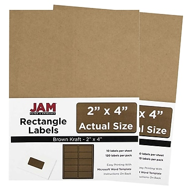 JAM Paper® Mailing Address Labels, 2 x 4, Brown Kraft, 2 packs of 120 (4513703g)