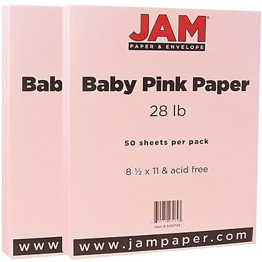 JAM PaperMD – Papier texturé, 8 1/2 x 11 po, rose pastel, 100 feuilles/paq.