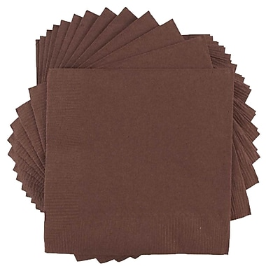 JAM Paper® Small Beverage Napkins, Small, 5 x 5, Chocolate Brown, 10 packs of 50 (5255620719g)