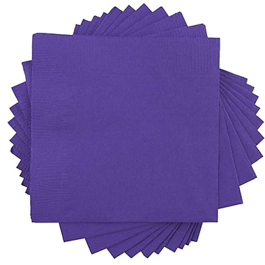 JAM Paper® Small Beverage Napkins, Small, 5 x 5, Purple, 10 packs of 50 (5255620727g)