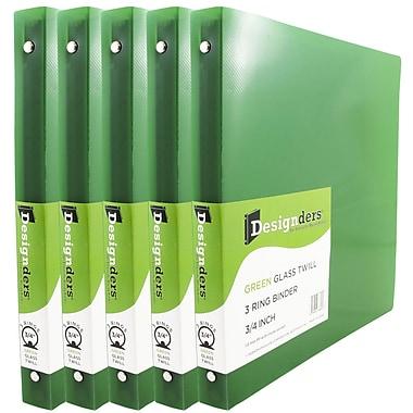 JAM Paper® Plastic 3 Ring Binder, 0.75 inch, Green, 5/Pack (53016grg)