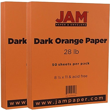 JAM Paper® Matte Paper, 8.5 x 11, 28lb Dark Orange, 2 packs of 50 (61511370g)