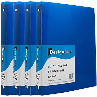 JAM Paper® Plastic 3 Ring Binder, 0.75 inch, Blue, 4/Pack (750T1bug)