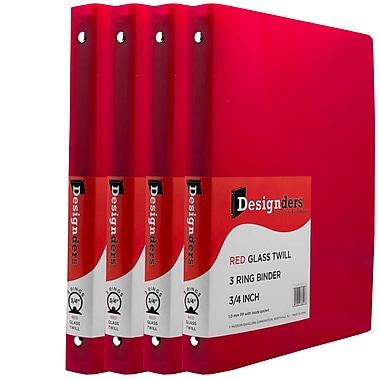JAM Paper® Plastic 3 Ring Binder, 0.75 inch, Red, 4/Pack (750T1reg)