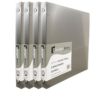 JAM PaperMD – Cartable à 3 anneaux Designders, 3/4 po, gris fumée, 4/paquet