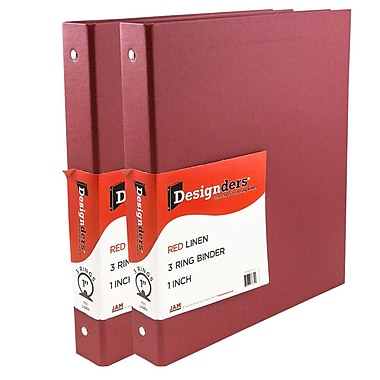 JAM Paper® Premium Linen Textured 3 Ring Binders, 1 Inch, Red, 2/Pack (751Lreg)