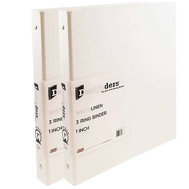 JAM Paper® Premium Linen Textured 3 Ring Binders, 1 Inch, White, 2/Pack (751Lwhg)