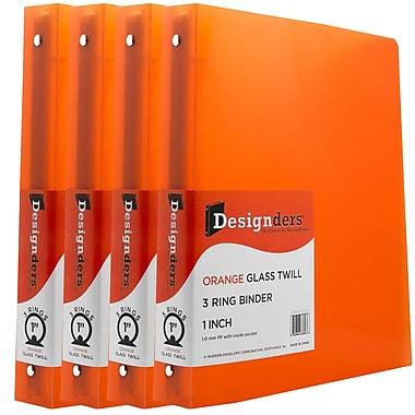 JAM PaperMD – Cartable à 3 anneaux Designders, 1 po, orange, 4/paquet