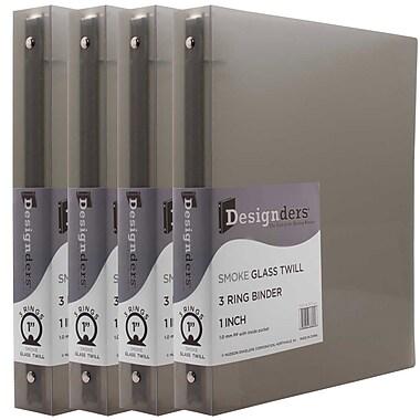 JAM PaperMD – Cartable à 3 anneaux Designders, 1 po, gris fumée, 4/paquet