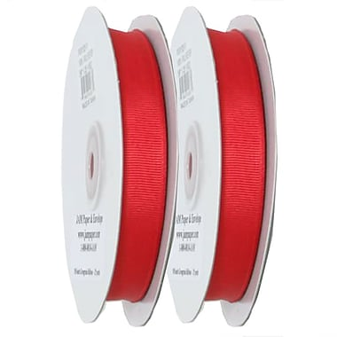JAM Paper® Grosgrain Ribbon, .63 inch wide x 25 Yards, Red, 2/Pack (7896497g)