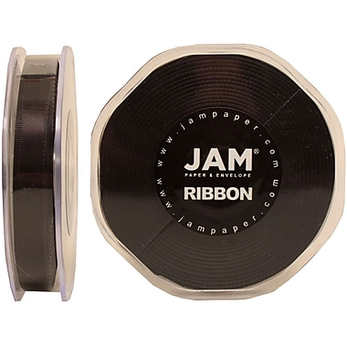 JAM Paper® Double Faced Satin Ribbon, .38 Inch Wide x 25 Yards, Black, 4/Pack (803SAbl25g)