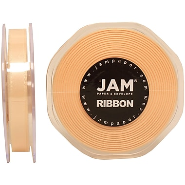JAM Paper® Double Faced Satin Ribbon, .38 Inch Wide x 25 Yards, Ivory, 2/Pack (803SAiv25g)