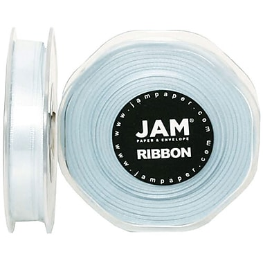 JAM Paper® Double Faced Satin Ribbon, .38 Inch Wide x 25 Yards, Baby Blue, 2/Pack (803SAltbu25g)