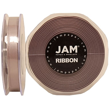 JAM Paper® Double Faced Satin Ribbon, .38 Inch Wide x 25 Yards, Silver, 2/Pack (803SAsi25g)