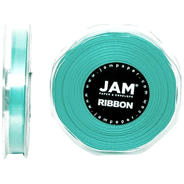 JAM Paper® Double Faced Satin Ribbon, .38 Inch Wide x 25 Yards, Teal Blue, 2/Pack (803SAtibu25g)