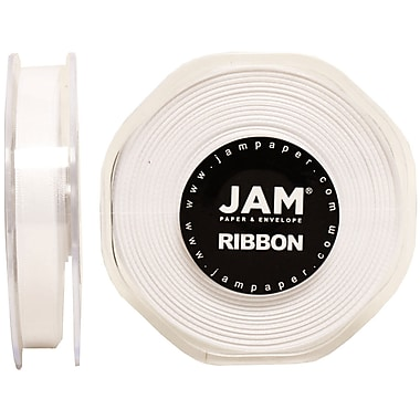 JAM Paper® Double Faced Satin Ribbon, .38 Inch Wide x 25 Yards, White, 2/Pack (803SAwh25g)