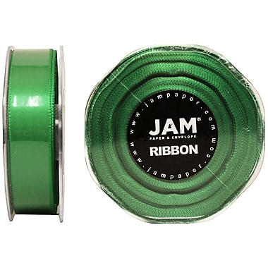 JAM Paper® Double Faced Satin Ribbon, .88 Inch Wide x 25 Yards, Emerald Green, 2/Pack (807SAemgr25g)
