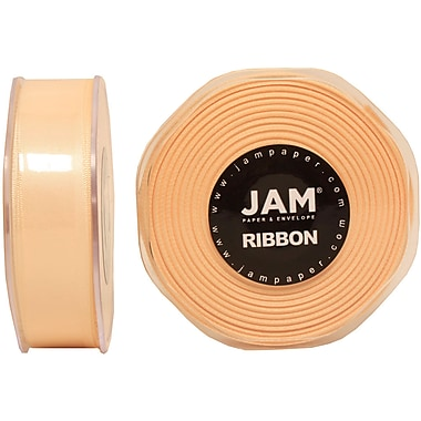 JAM Paper® Double Faced Satin Ribbon, .88 Inch Wide x 25 Yards, Ivory, 2/Pack (807SAiv25g)