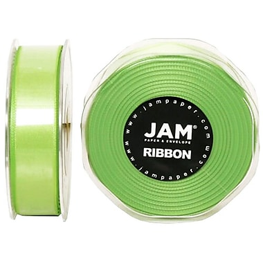 JAM Paper® Double Faced Satin Ribbon, .88 Inch Wide x 25 Yards, Lime Green, 2/Pack (807SAligr25g)