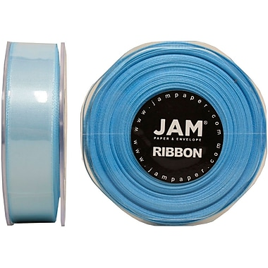 JAM Paper® Double Faced Satin Ribbon, .88 Inch Wide x 25 Yards, Light Blue, 2/Pack (807SAltbu25g)