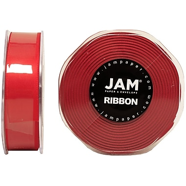 JAM Paper® Double Faced Satin Ribbon, .88 Inch Wide x 25 Yards, Red, 2/Pack (807SAre25g)